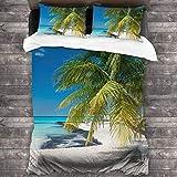 AIMILUX Funda Edredón,Coconut Palm en Caribbean Beach Cancún México,Ropa de Cama Funda Nórdica,1(140x200cm)+2(50x80cm)