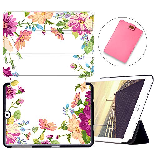 MAITTAO Galaxy Tab S2 9.7 Case T810 T815 T813 T817, Slim Folio Shell Case Stand Cover with Auto Wake/Sleep for Samsung Galaxy Tab S2 9.7 Case Inch Tablet Sleeve Bag 2 in 1 Bundle, Flowers & Leafs 11