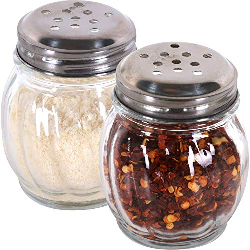 Mr. Kitchen's Red Pepper Shaker or Parmesan Cheese Shaker; Bulk Swirl Glass Cheese Shaker Set with Perforated Stainless Steel Lid (Set of 6)