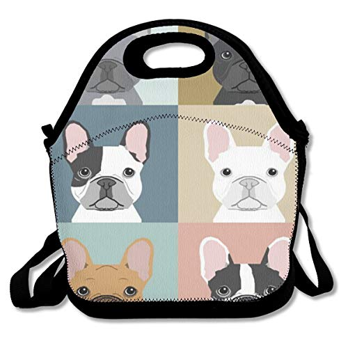 Premium Compact Lunch Bag Totebag French Bulldogs Gourmet Lunchbox Leakproof Insulated Thermal Container for School Work Office Outdoor Picnic Meal Prep