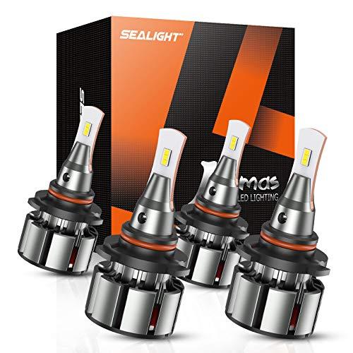 SEALIGHT 9005/HB3 High Beam 9006/HB4 Low Beam Combo LED Headlight Bulbs, 16000 Lumens, 6000K Cool White, Pack of 4