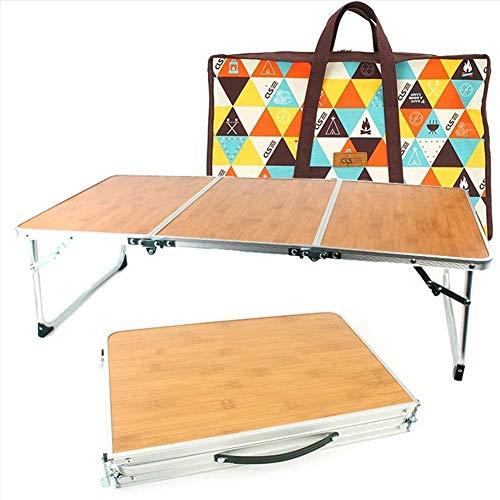 1yess Tragbare kompakte, leichte Klapptisch Koffer, mit Aufbewahrungstasche, Bambusholz, Sturdy Kratz- Stall, for den Ausflug Reise Fiing Wandern Reisen 8bayfa