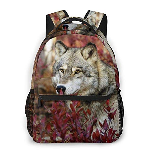 Lawenp Fashion Unisex Backpack Wolf Bookbag Lightweight Laptop Bag for School Travel Outdoor Camping