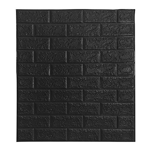 BOJU 10Pcs 3D Tile Brick Wall Stickers Self-Adhesive Wallpaper Foam Panel 70×77cm (Black)