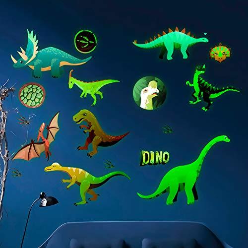 N/0 Luminoso Dinosaurios Pegatinas, 14PCS Vinilos Dinosaurios Infantil Pared, Pegatinas de Pared...