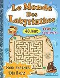 Le Monde des Labyrinthes: Cahier de labyrinthes en couleurs pour enfants   un carnet de jeux pour les enfants de 5 à 8 ans   le cadeau idéal pour les vacances , les anniversaires , les fêtes , Noël