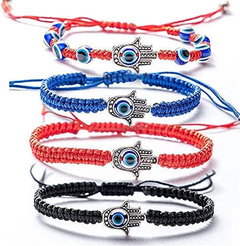4 piezas Set Set Evil Eye Pulsera - Mano tejida roja cordón negro amuleto amuleto amistad pulsera para protección, cabalá bendición afortunado fatima hamsa mano pulseras para las mujeres hombres niñas