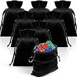 8 Pieces Velvet Tarot Rune Bag Velvet Drawstring Bag Tarot Bag Bundle 6 x 9 Inch Velvet Pouch Jewelry Bags (Black)