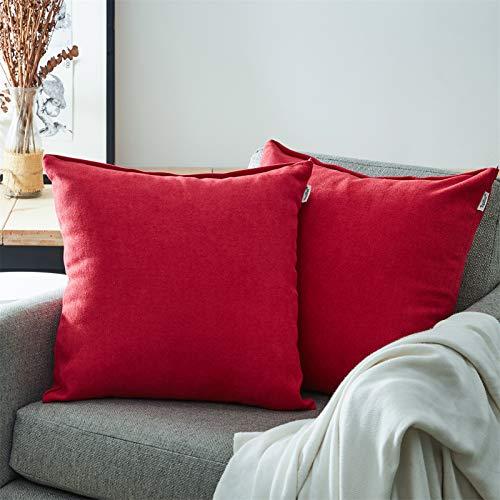Topfinel Juego 2 Fundas Cojines Hogar Algodón Lino Decorativa Chenilla Almohadas Fundas de Color sólido para Sala de Estar sofás 45x45cm Rojo