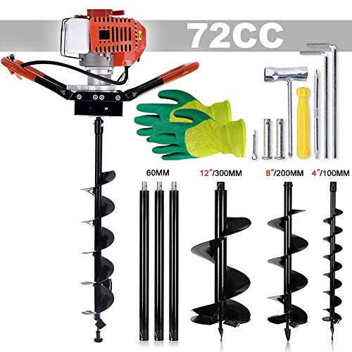 SuxiDi 72cc Post Hole Digger Auger Petrol Drill Bit Earth Borer with 3 Bits 3 Extension Rods (4' & 8' & 12') Ultra Sharp Blades