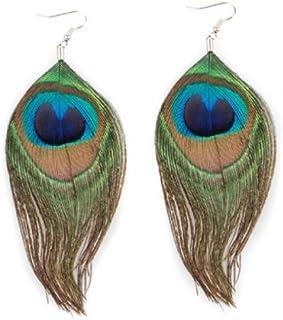 Orecchini piuma del pavone - SODIAL(R) 1 paio Multicolore della piuma del pavone Ciondola gli orecchini di moda