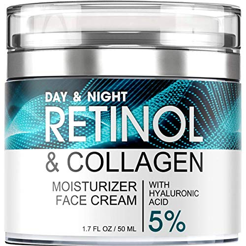 Retinol Cream for Face – Facial Moisturizer with Hyaluronic Acid and Collagen – Hydrating Face Lotion for Women and Men – Day and Night Anti-Aging Moisturizing Cream – For All Skin Types