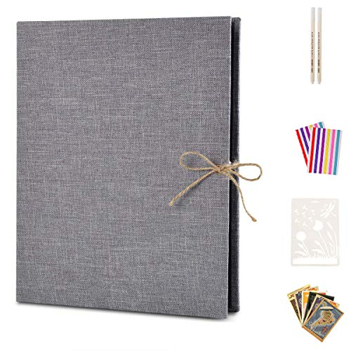 Photo Album Scrapbook, AIOR Linen Refillable Scrap Book DIY Scrapbooking Personalized Guest Book with Black Pages, Family Memory Book Wedding Anniversary Valentines Day Birthday Gift for Couple, Gray
