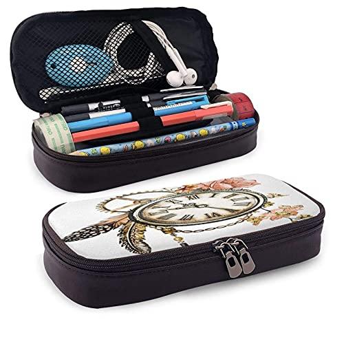 QQIAEJIA Reloj Estuche de cuero para lápices con cremallera,rosas,plumas,flores a cuerda,tatuaje,estuche para bolígrafos vintage,estuche para lápices para mujeres y hombres 434