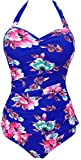 Bettydom Ladies One Piece Dot Swimsuit Retro Vintage Push Up Swimming Costume Halter Backless Swimwear M-3XL (XXL (UK Size 14-16), Blue Flower)