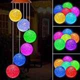 Solar Crystal Ball LED Wind Chimes Outdoor Hanging - Waterproof Mobile Romantic Solar Powered Changing Color Wind Chimes Light for Xmas Mom Gifts, Home, Patio, Party, Festival, Night Garden Decoration
