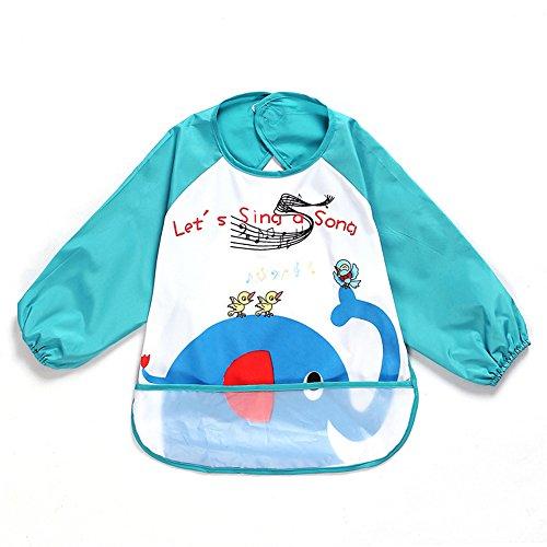sohv Unisex Kinder Childs Arts Handwerk Malerei Schürze Baby Lätzchen Wasserdicht Ärmel mit und Pocket, 6–36Monate, hat dark blue Elephant, Set 1