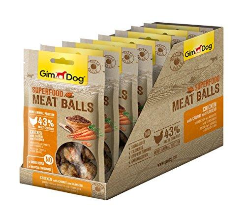 GimDog Superfood Meat Balls Hühnchen mit Karotte und Leinsamen - Mono-Protein Hundeleckerli mit hohem Fleischanteil - 8 Beutel (8 x 70 g)