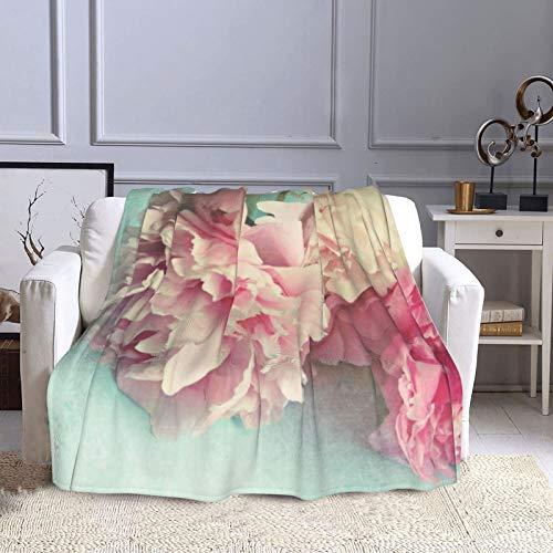 KCOUU Couverture polaire 127 × 152 cm Style shabby chic Rose pivoines Confortable Doux Chaud Couverture décorative pour canapé, lit, canapé, voyage, maison, bureau toutes saisons
