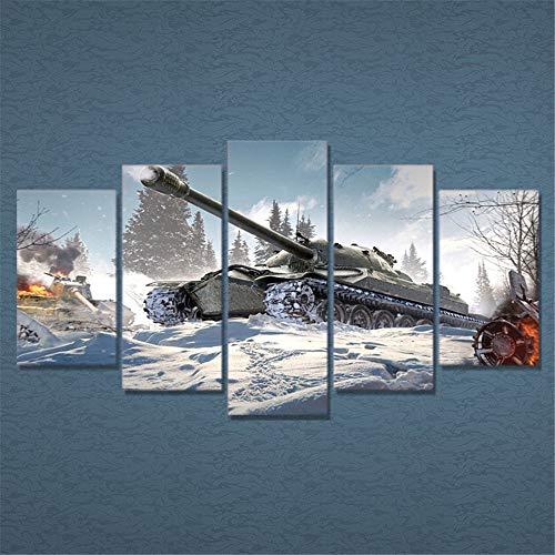 AMOHart Leinwanddrucke Modernes Dekor Wohnzimmer Wandkunst 5 Stück Krieg World of Tanks HD Poster Drucke auf Leinwand Rahmen