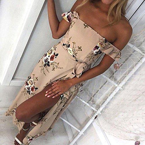 Sinwo Women Chiffon Floral Long Maxi Dress Long Sleeve Evening Party Beach Dresses Casual Dress