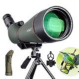 HUTACT 25X-75X100 Telescopio Terrestre con trípode y Adaptador para teléfono Inteligente - BAK4 Lente óptica Recubierta FMC Zoom Spotting Scope para Tiro al Blanco Caza Observación de Aves
