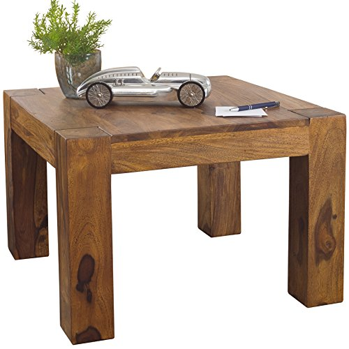 Wohnling Couchtisch Massiv-Holz Sheesham 60 cm breit Wohnzimmer-Tisch Design dunkel-braun Landhaus-Stil Beistelltisch Natur-Produkt Wohnzimmermöbel Unikat modern Massivholzmöbel Echtholz quadratisch