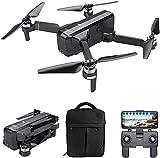 QqHAO GPS Drone 5G WiFi FPV Drone sin escobillas con cámara 2K 120 ° Gran Angular Selfie Sígueme Modo sin Cabeza Altitude Hold Plegable RC Quadcopter con Bolso-1 batería