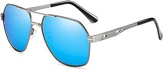 XINGYU - Gafas de Sol polarizadas para Hombre para Deportes Gafas de Sol de conducción al Aire Libre Gafas de Sol con Montura metálica para piloto Gafas de Sol Azules