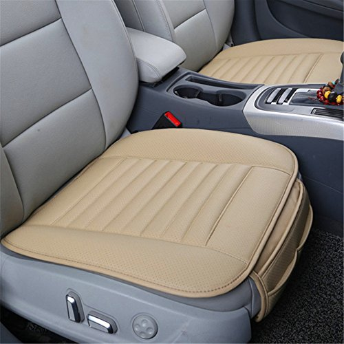 Guizen Universal Auto Sitzauflagen Sitzkissen mit Bambuskohle PU Leder (Beige)