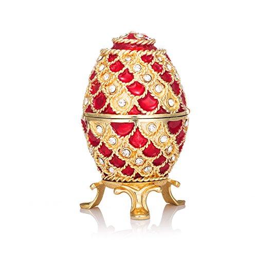 Qifu-hand Painted /émaill/é /Œuf Faberg/é Style d/écoratif /à charni/ère Bijoux Bo/îte /à bijoux Cadeau unique pour la d/écoration de la maison