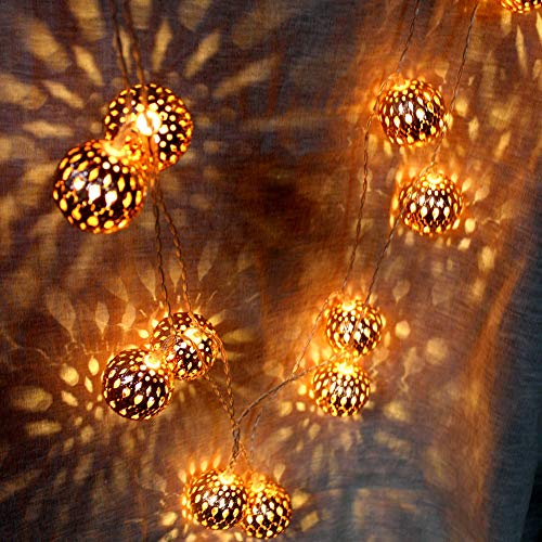 LOGUIDE Moroccan String Lights,Big Metal Globe String Lights,Indoor Outdoor Battery Operated Fairy Lights for Wedding,Bedroom,Window,Garden,Patio Decorations,Rose Gold Ball/9.84 feet/ 20 LEDs