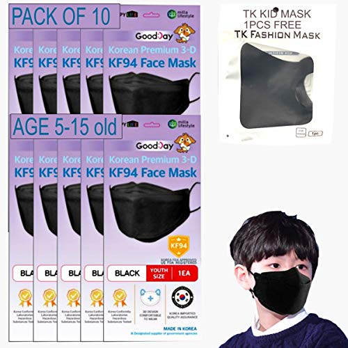 (Pack of 10) KF94 Kids Black Face Mask, Individual Pack Youth, 4-Layer Filters Disposable, Made in Korea