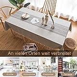 Vailge Tischdecke Rechteckige Tischtuch Leinendecke Leinen Tischdecke Abwaschbar, Tischdecken Wasserabweisend mit Quaste Edge Tischwäsche für Home Küche Dekoration (Grau, 140 x 180 cm) - 3