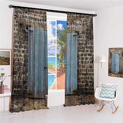 Rustic Sunshade Sunscreen Curtain Stone Wall of Dated Closed Barn Gothic Medieval European Urban City Town Scenery Soundproof Shade W52 x L54 Inch Blue Grey