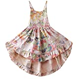 Casual Maxi Dress Toddler Girl Party Dress 3T Summer Dress Dresses Flowers Floral Maxi Dress Girls Dress Straps Party Dresses for Girls Formal Dresses for Kids 3 Years (A4Floral,100)