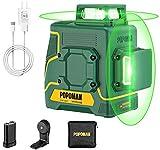 Livella Laser Verde 45M, POPOMAN 2x360° Linea Laser Croce, USB e 5200mAh Batteria al Litio, Modalità Impulso, Autolivellante, con Supporto Magnetico, Borsa per Trasporto, IP54 - MTM340B