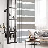 GoDear Design Deluxe Color Block Adjustable Sliding Panel Track Blind 45.8'- 86' W x 96' H, Extendable 4-Rail Track, Trimmable Pleated Natural Woven Fabric, Limestone