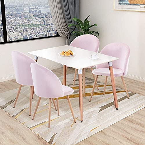 HomeSailing EU Set of 4 Velvet Dining Chairs and 110cm Rectangle Dining Table Sets with Wood Legs Retro Lounge chair for Living Room Kitchen Office Restaurant