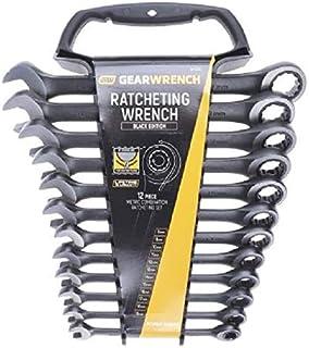 GearWrench 9412BE klucz płasko-oczkowy z grzechotką, metryczny, czarny, 8-19 mm, 12 sztuk [edycja limitowana]
