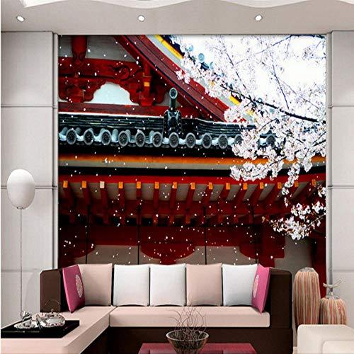 Hwhz - Carta da parati personalizzata, 3D, stile giapponese, ciliegia, rosso onde, carta da parati, ristrutturazione stereo, 350 x 250 cm