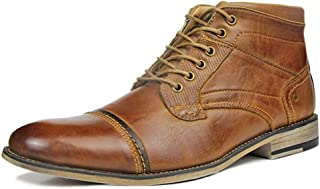JIANFEI LIANG Men's Ankle Boots Chukka Boot Casual Lace up Side Zipper Burnished Style Genuine Leather Stitch Wood-Like Sole Non-slip Dress Oxford Boots (Color : Brown, Size : 50 EU)