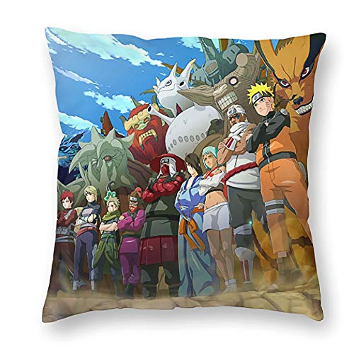 Naruto Throw Pillows for Couch Anime Decorative Pillow Covers 18x18 inches Square Pillowcase for Living Room, Bedroom, Sofa, Cars