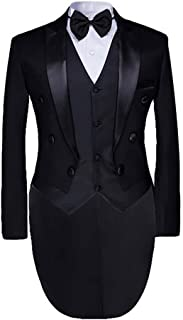 Cloudstyle Men`s Tailcoat Formal Slim Fit 3-Piece Suit Dinner Jacket Swallow-Tailed Coat