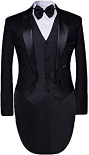 Men's Tailcoat Formal Slim Fit 3-Piece Suit Dinner Jacket Swallow-Tailed Coat