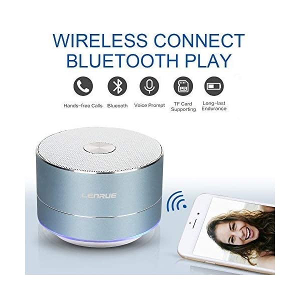 Portable Wireless Bluetooth Speaker with Built-in-Mic,Handsfree Call,AUX Line,TF Card,HD Sound and Bass for iPhone Ipad Android Smartphone and More 4