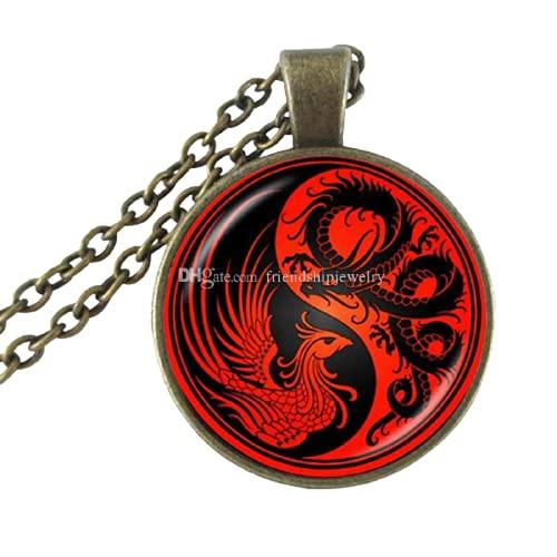 Collar Ying Yang con colgante de dragón rojo Phoenix Art Picture Collar Cruz Joyería Cristal Cúpula Suéter Collar Animal Hecho a Mano Joyería Regalos