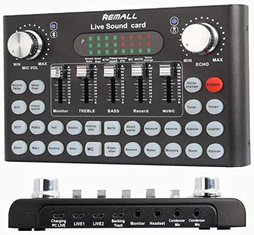 REMALL Live Sound Card Voice Changer for Podcasting Bluetooth Audio DJ Mixer with Sound Effects product image