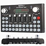 REMALL Live Sound Card Voice Changer for Podcasting, Bluetooth Audio DJ Mixer with Sound Effects for iPhone Mobile Phone Type C Computer Zoom Live Streaming Broadcast Gaming (V10 Black)