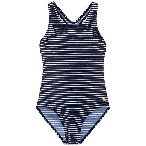 Schiesser Mädchen Badeanzug, Blau (Dunkelblau-Gem), 140